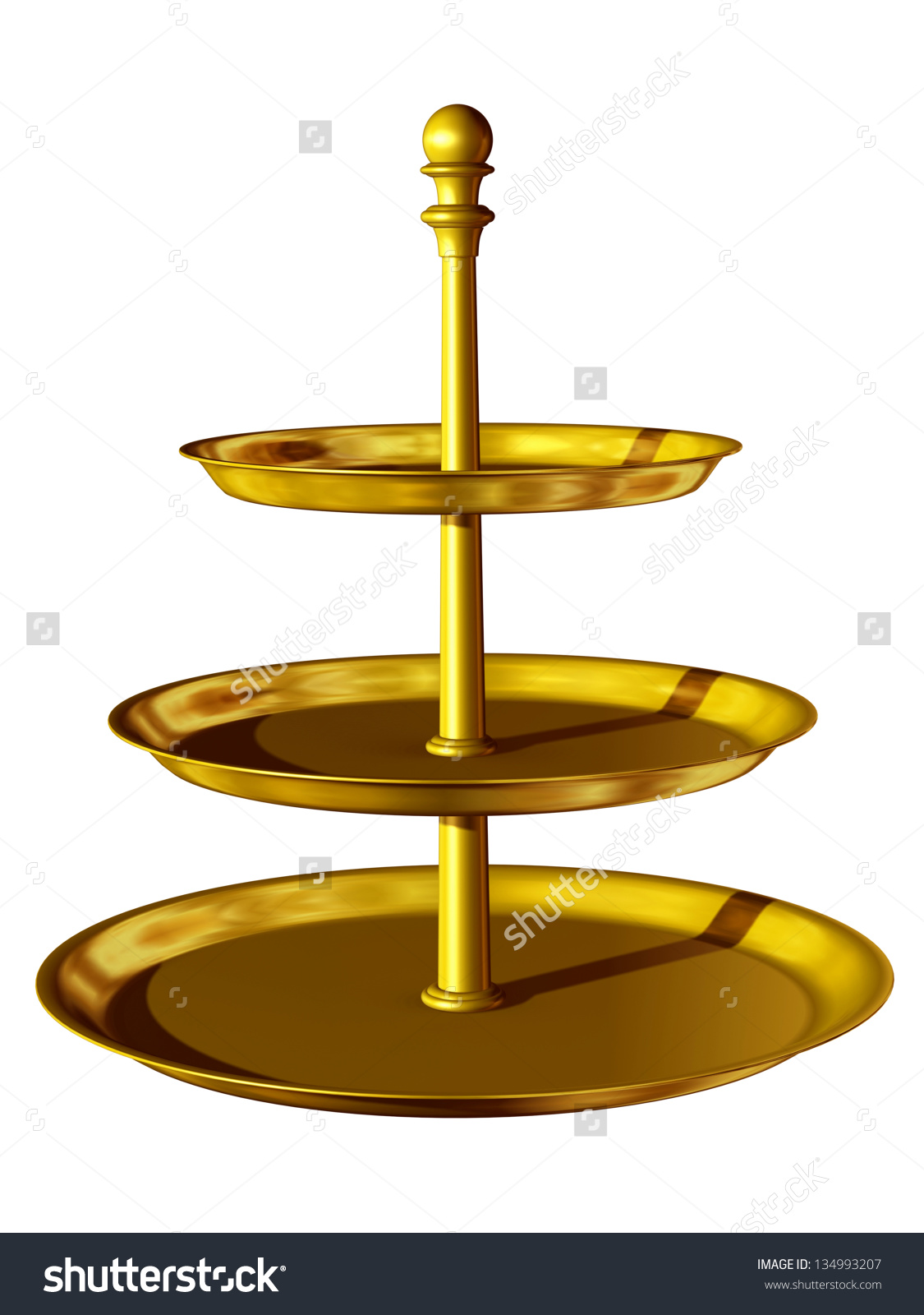 Golden Etagere With 3 Levels Stock Photo 134993207 : Shutterstock.