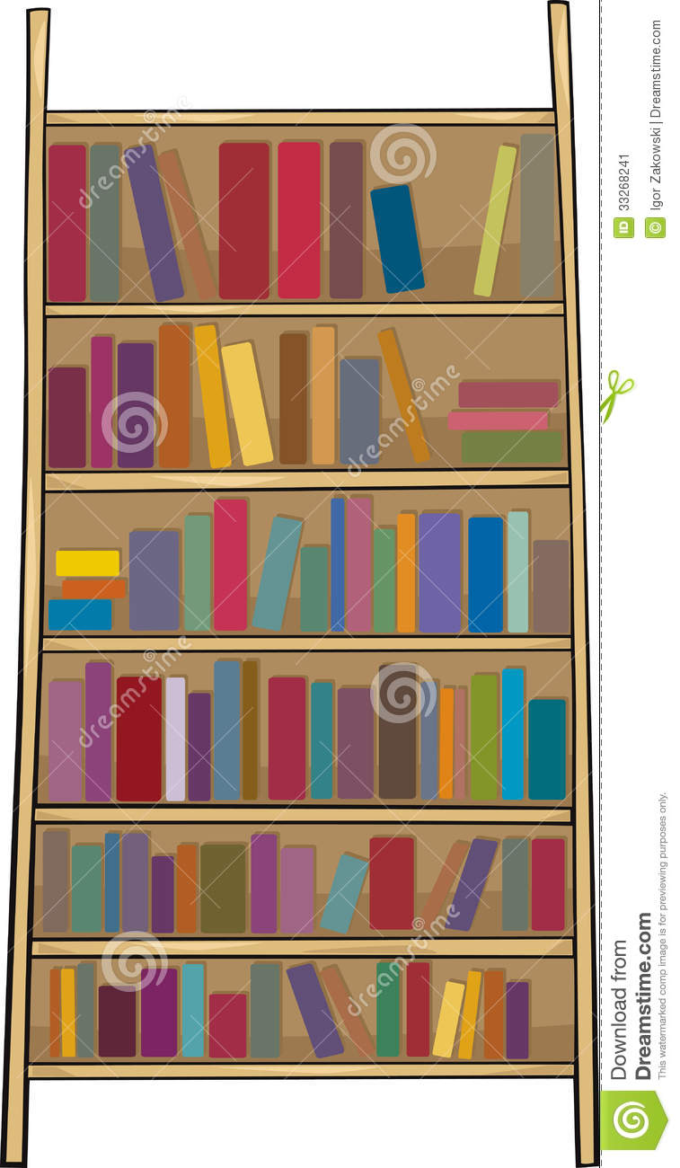Book Shelf Clip Art Cartoon Illustration Stock Image.