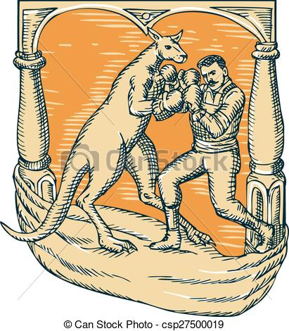 Vector Clip Art of Kangaroo Boxing Man Etching.