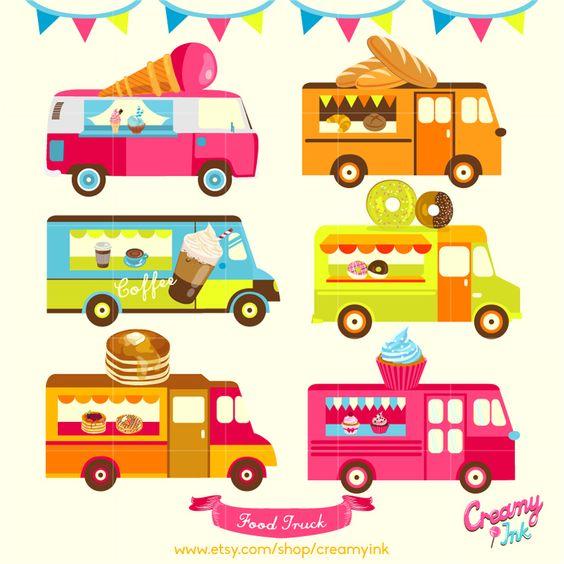 Food Truck Digital Vector Clip art / Food Trucks Digital Clipart.
