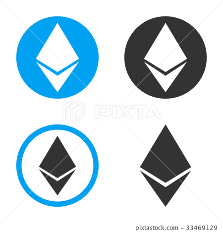 Ethereum Crystal Vector Icon Set.