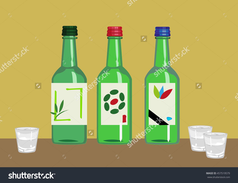 Soju Popular Distilled Beverage Korea Containing Stock Vector.