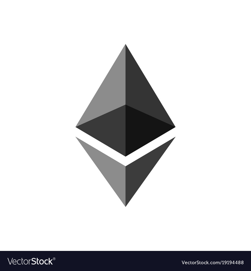 Ethereum coin symbol logo.