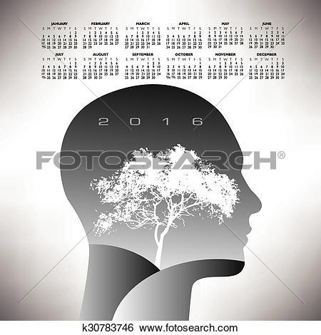 Clip Art of 2016 ethereal calendar k30783746.