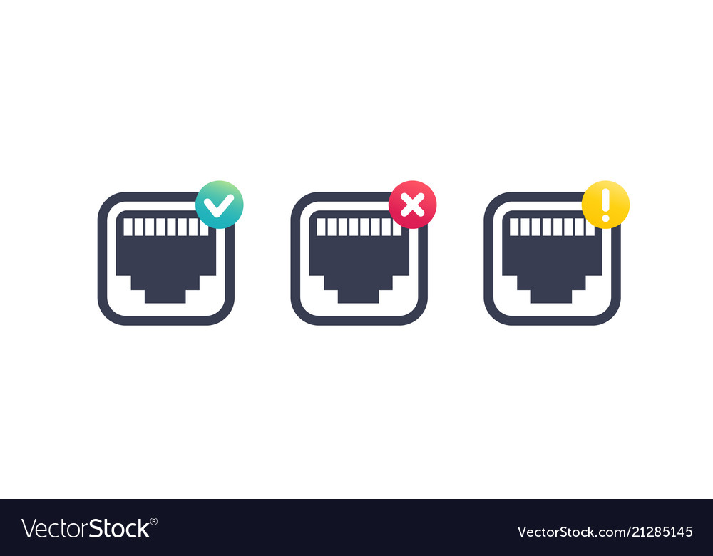 Ethernet network port icons on white.