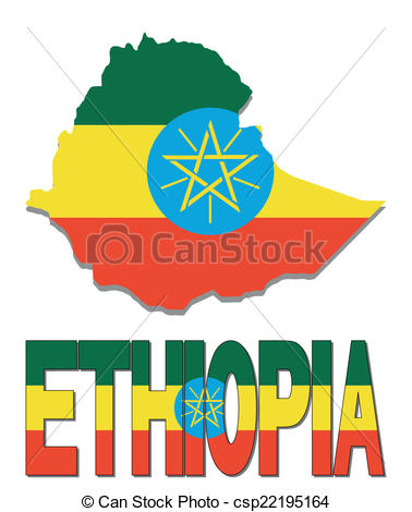 Clip Art Vector of Ethiopia map flag and text illustration.
