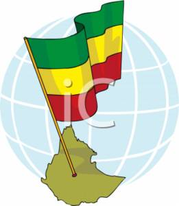 Clipart Picture of an Ethiopian Flag.