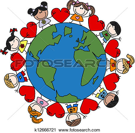Clipart of mixed ethnic happy children love k12551823.