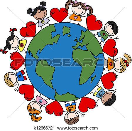 Clipart of mixed ethnic happy children love k12551823.