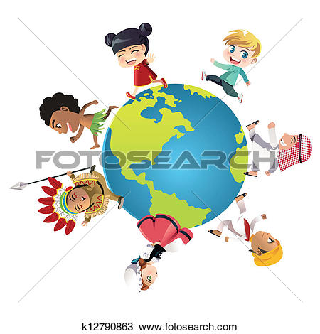 Stock Illustration of Children's ethnic, nationalities k5828235.