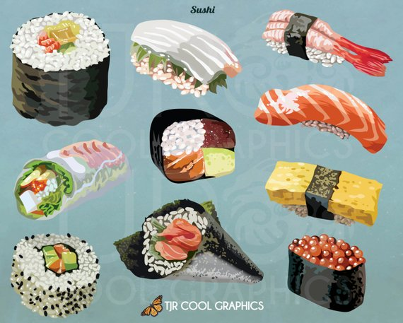 Sushi Clipart, Food Clip Art, SVG Clipart, Commercial, PNG.
