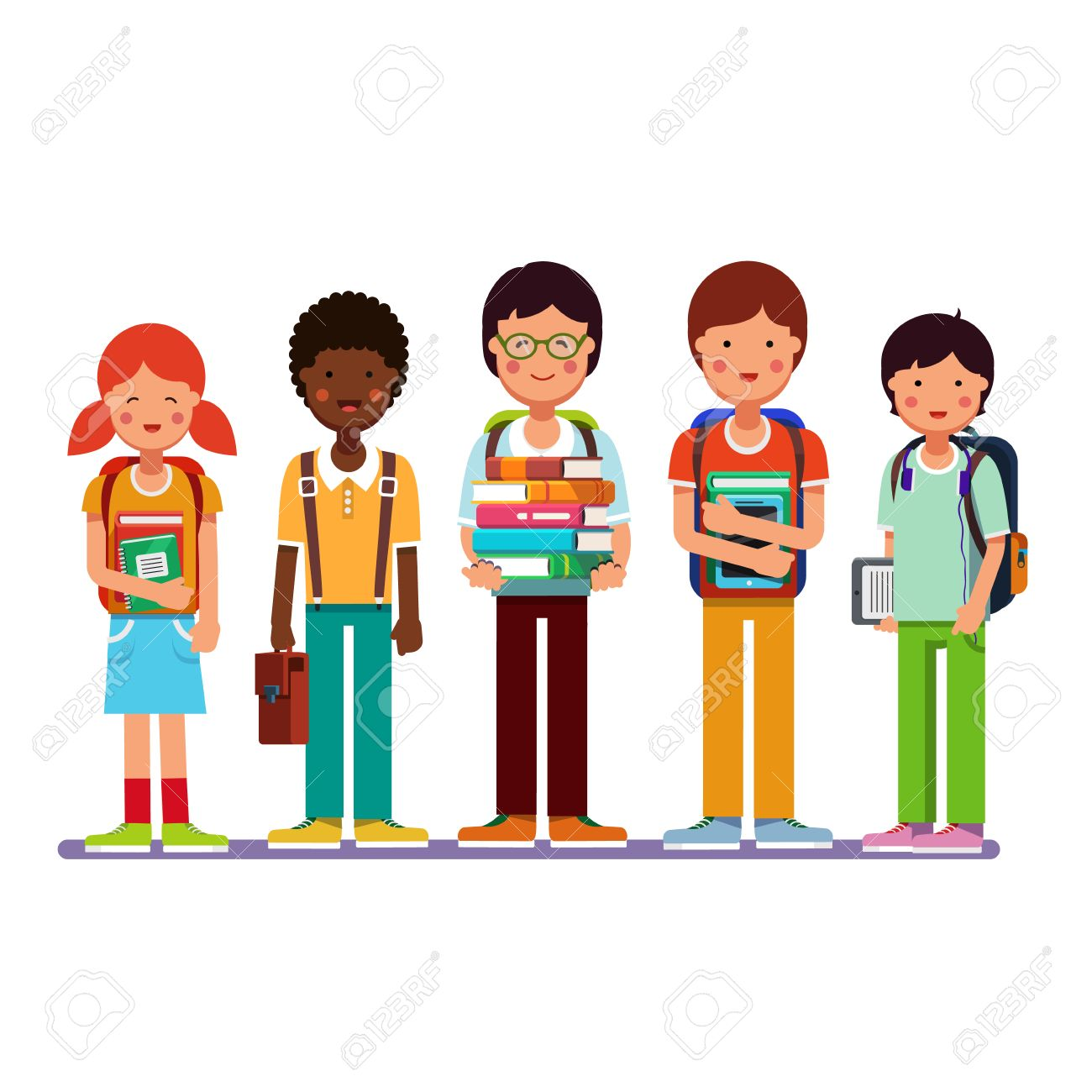 Multi ethnic group of school students kids standing together...