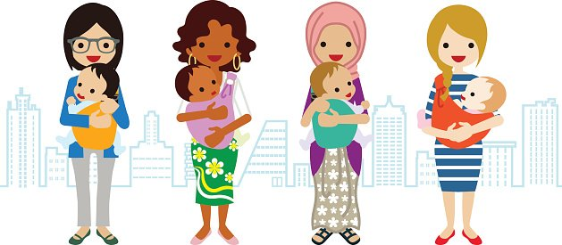 Various Mom and Baby Multi Ethnic Group premium clipart.