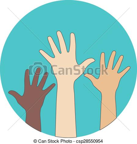 Clipart Vector of Circle flat icon. Hands raised up. Concept of.