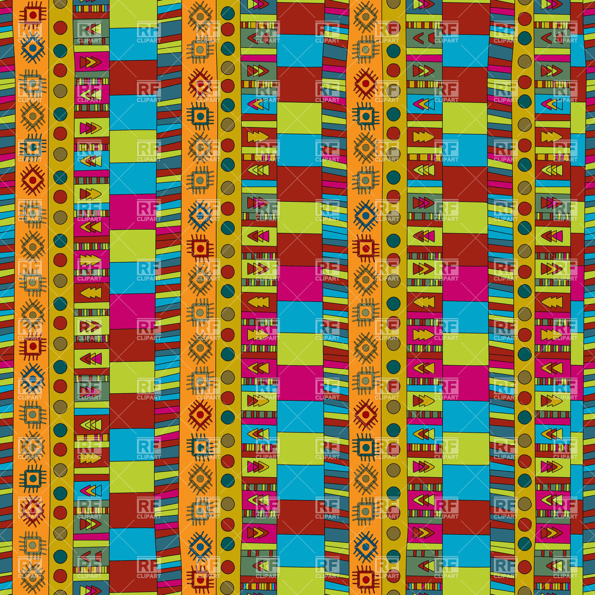 Abstract African ethno background in vivid colours Vector Image.