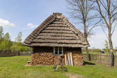 Old Traditional Wooden Polish Cottage In Open.