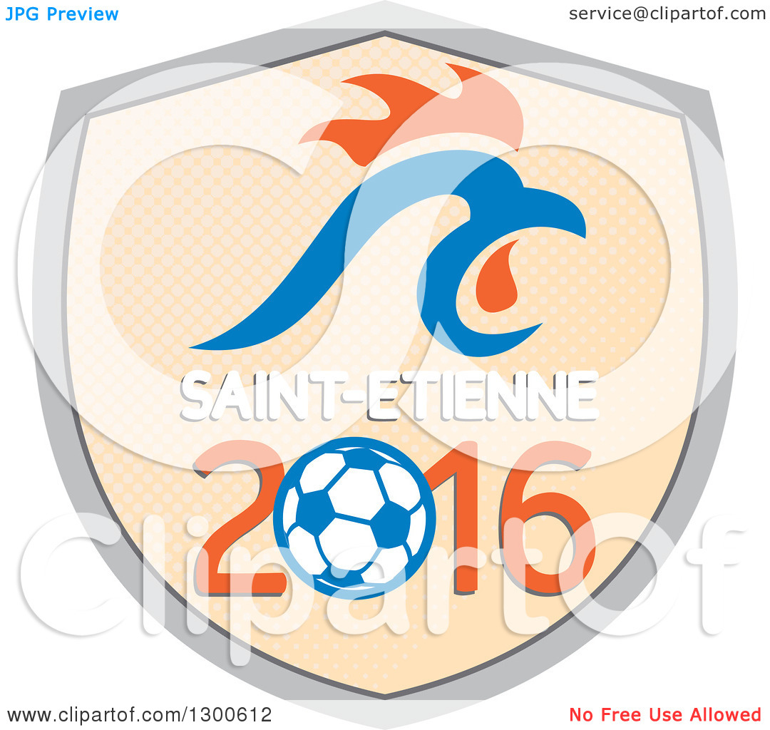 Clipart of a French Rooster Head over Saint Etienne 2016 and a.