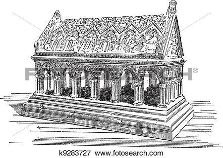 Clip Art of Tomb of Saint Etienne in Aubazine, vintage engraving.