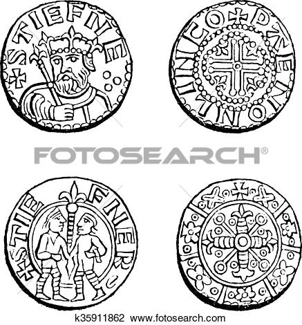 Clipart of Coins minted during the reign of Etienne, vintage.
