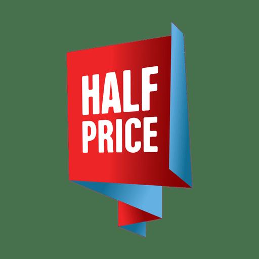 Etiqueta de venda de metade do preço.