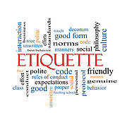Stock Illustration of Etiquette Word Cloud Concept k19028586.