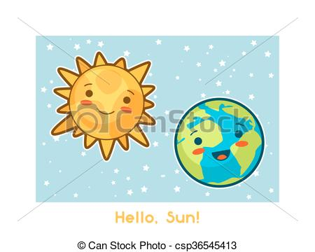 Vector Clip Art of Hello, Sun. Kawaii space funny card. Doodles.