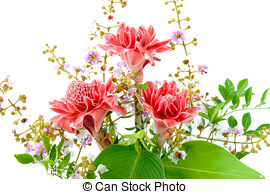Picture of Flower arrangements with pink torch ginger flowers.