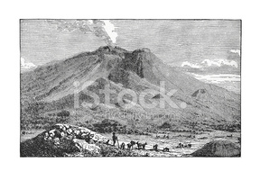 Mount Etna (antique Engraving) stock vectors.