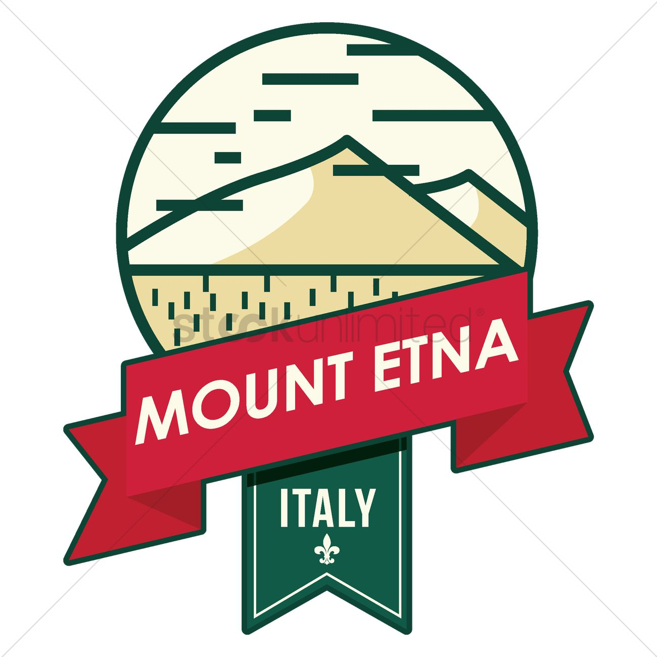 Mount etna Vector Image.