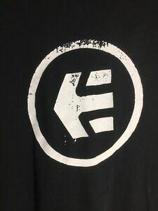 Details about Etnies Tee Shirt Logo Regular Fit Vintage Black Men\'s Extra  Large.