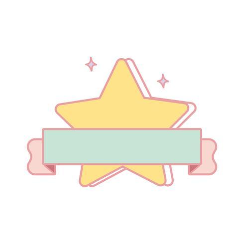 Vecteur d'emblème étoile jaune pastel mignon.