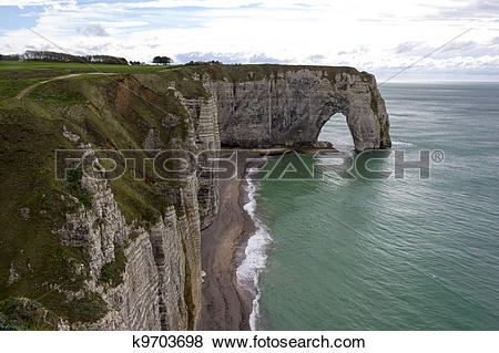 Pictures of Etretat on the Upper Normandy coast in the North of.