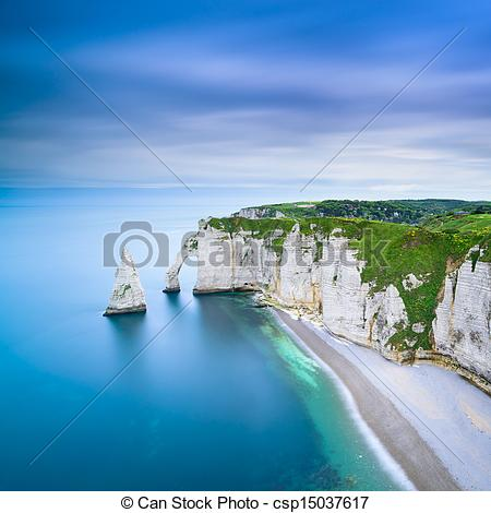 Stock Photography of Etretat Aval cliff and rocks landmark and.