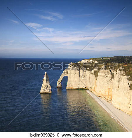 """Stock Photography of """"The Needle and the Aval Arch, Etretat."""