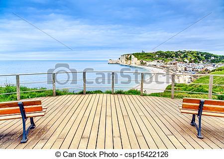 Stock Photo of Etretat panoramic view landmark, balcony, beach and.