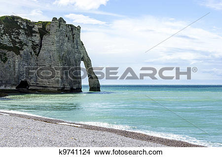 Stock Photo of Etretat on the Upper Normandy coast in the North of.