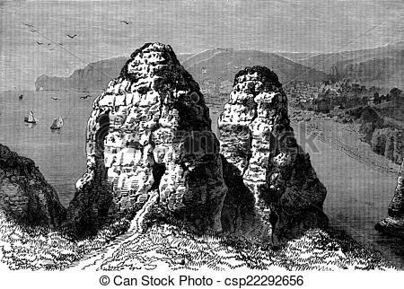 Stock Images of Cape Antifer at Etretat, vintage engraving..