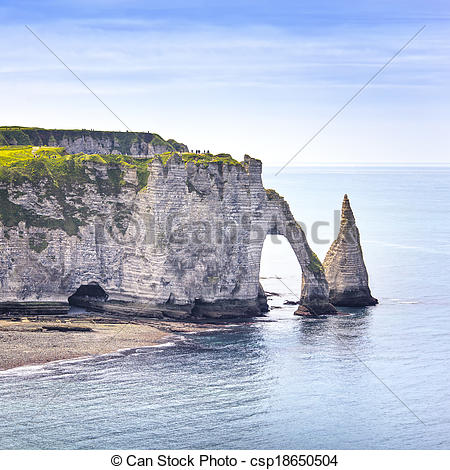 Stock Photography of Etretat Aval cliff, rocks and natural arch.