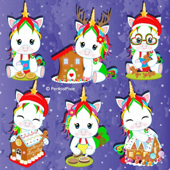 Gingerbread and cookies decorating Unicorn clipart.