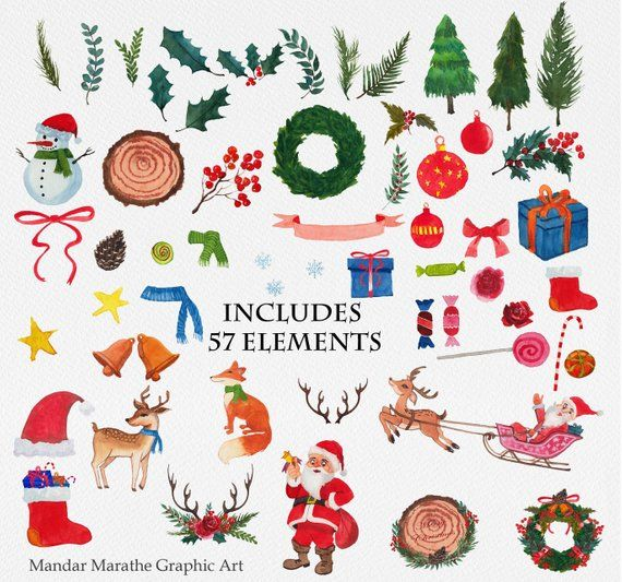 Watercolor Christmas Clipart Holiday Clip Art Fox Reindeer.