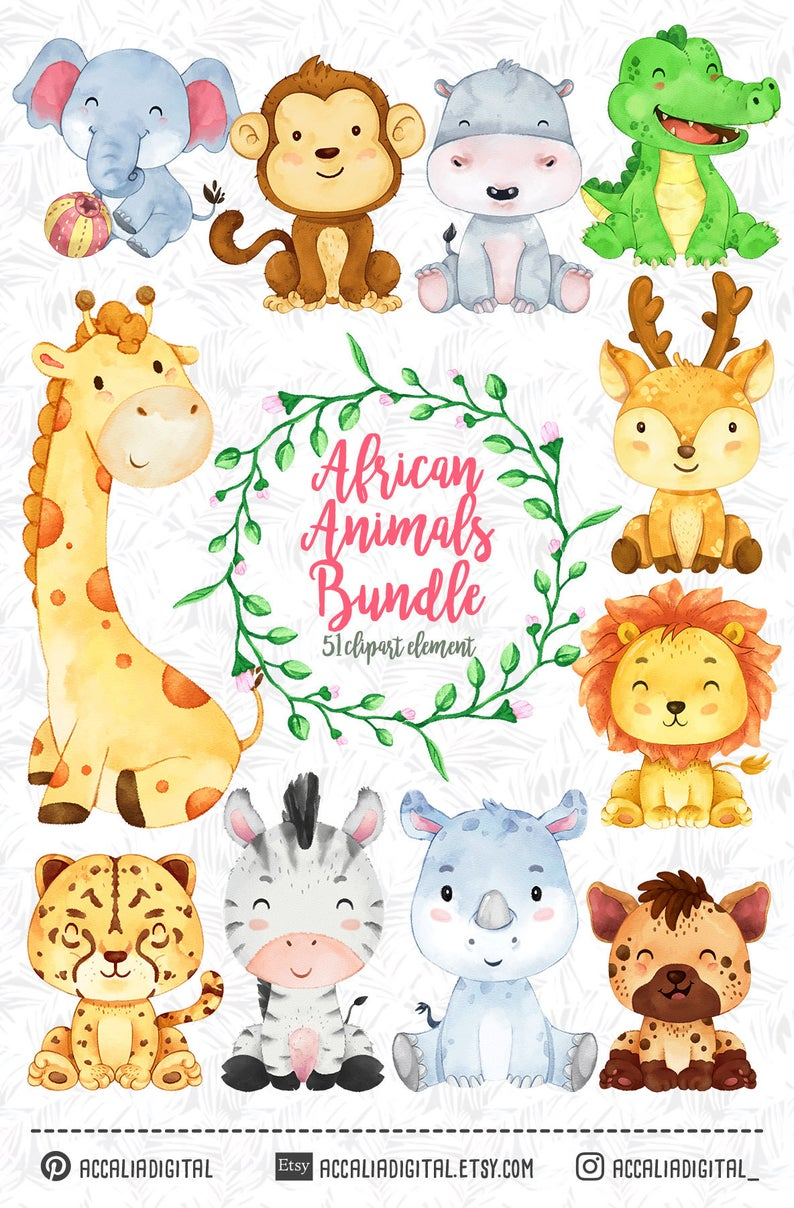 African animals Clipart, watercolor animal, animals buddies.