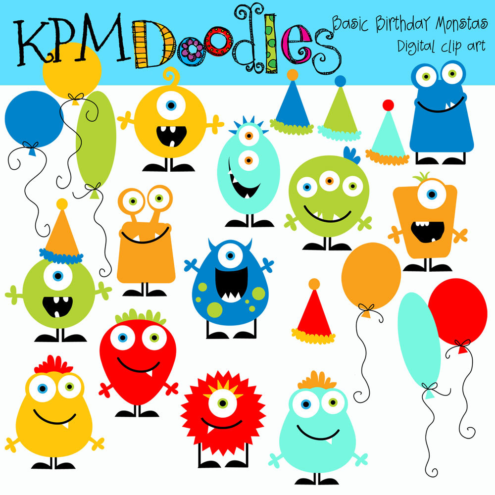 KPM Basic Birthday Monsters digital clipart.