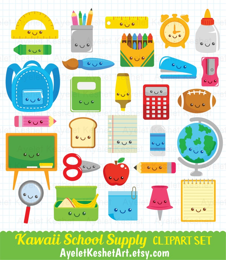 Kawaii school clipart set. Cute digital clipart bundle for personal &  commercial use. PNG and EPS vector files, instant download..