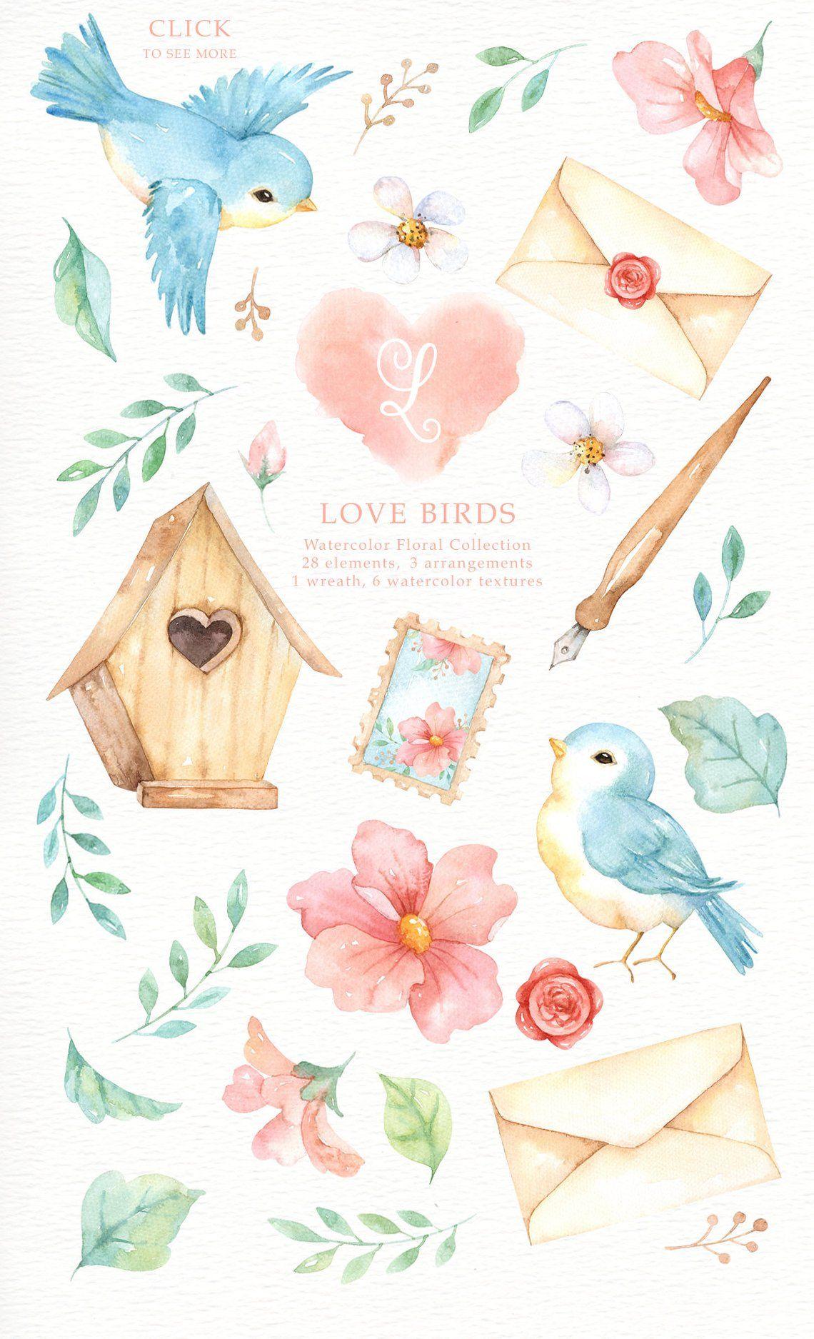 Love Birds Watercolor Clipart, Romantic wedding, Watercolor.