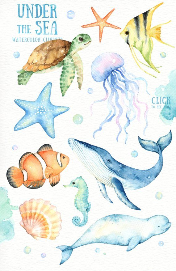Illustration Kids Under the Sea Watercolor Clipart Nursery.