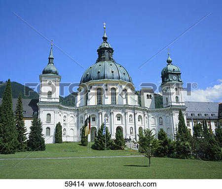 Stock Photo of Facade of church, Ettal, Bavaria, Germany, Europe.