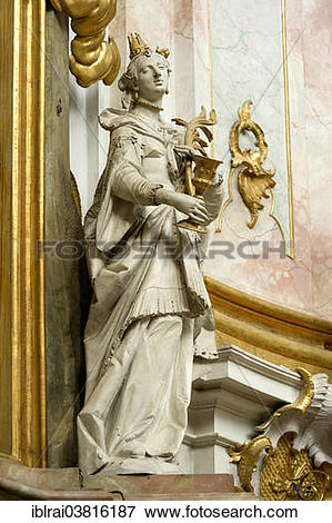 "Picture of ""Figure of St. Barbara, by J.B. Straub, baroque Church."