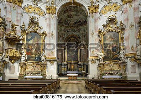 "Stock Image of ""Nave and choir, baroque Church of the Assumption."