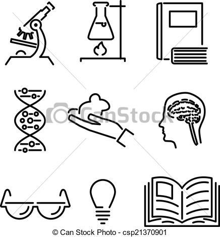 Clipart Vecteur de ensemble, connaissance, icônes, mobile, science.