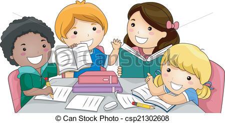 Clipart Vecteur de étude, groupe.